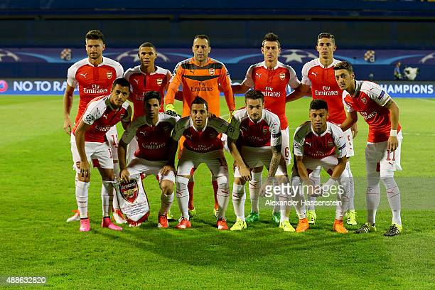 The team of London line ups for the UEFA Champions League Group F match between Dinamo Zagreb and Arsenal at Maksimir Stadium on September 16 2015 in...