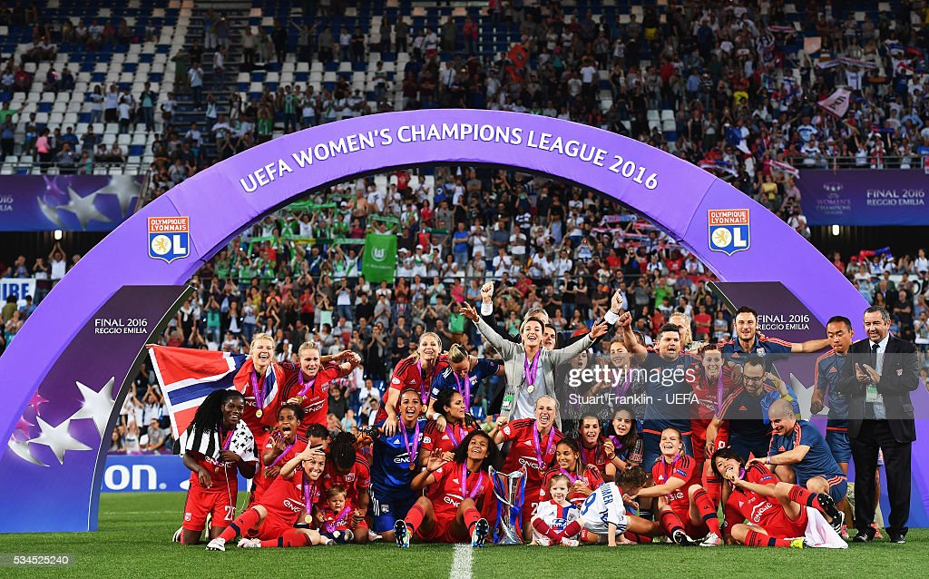 The team of Lyon celebrates after the UEFA Women's Champions League Final at Mario Rigamonti Stadium on May 26, 2016 in Brescia, Italy.