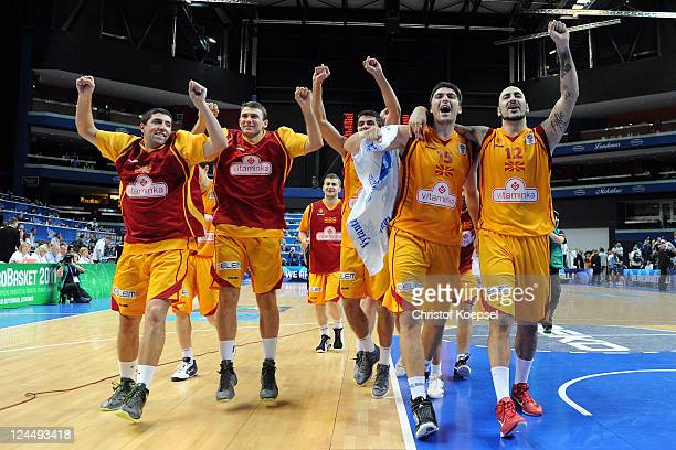 The team of Macedonia celebrates the 6859 victory after the EuroBasket 2011 second round match between Macedonia and Slovenia at Siemens Arena on...