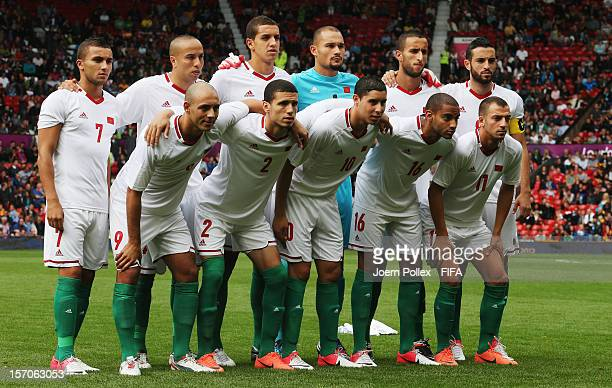 The team of Marocco is pictured prior to the Men's Football first round Group D match between the Spain and Morocco on Day 5 of the London 2012...