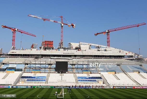 The team of Marseille in action during a Olympique Marseille training session ahead of their UEFA Champions League Round of 8 first leg match against...