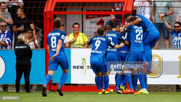 The Team of Meppen celebration the Goal 10 for Meppen during the 3 Liga match between SV Meppen and FC Wuerzburger Kickers at Haensch Arena on July...