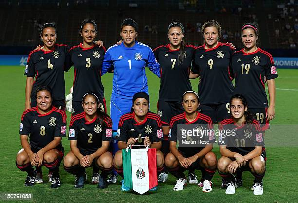 The team of Mexico lines up before the FIFA U20 Women's World Cup 2012 group A match between Mexico and New Zealand at Kobe Universiade Memorial...
