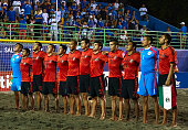 The team of Mexico lines up during day five of the CONCACAF Beach Soccer Championships El Salvador 2015 match between Mexico and Guatemala at Estadio...