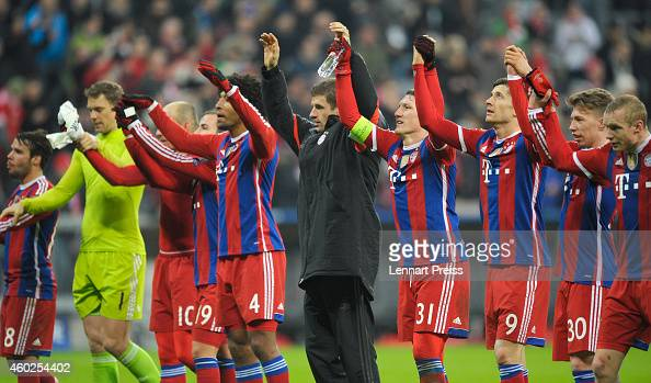 The team of Muenchen celebrate the victory after the UEFA Champions League Group E match between FC Bayern Muenchen and PFC CSKA Moskva at Allianz...