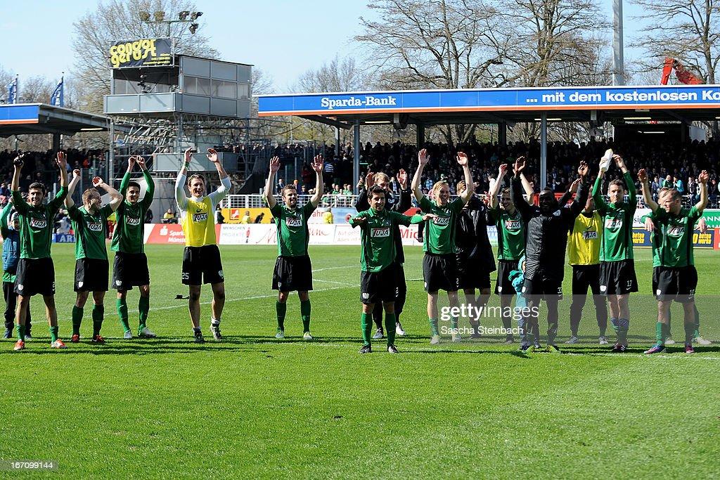 The team of Muenster celebrate after the 3. Liga match between Preussen Muenster and Karlsruher SC at Preussenstadion on April 20, 2013 in Muenster, Germany.
