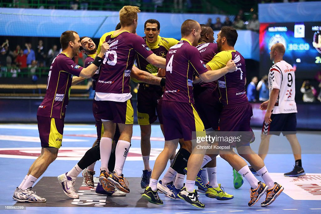 The team of Nantes celebrate after the EHF Cup Semi Final match between Tvis Holstebro and HBC Nantes at Palais des Sports de Beaulieu on May 18, 2013 in Nantes, France. The match between HBC Nantes and Tvis Holstebro ended 26-20.