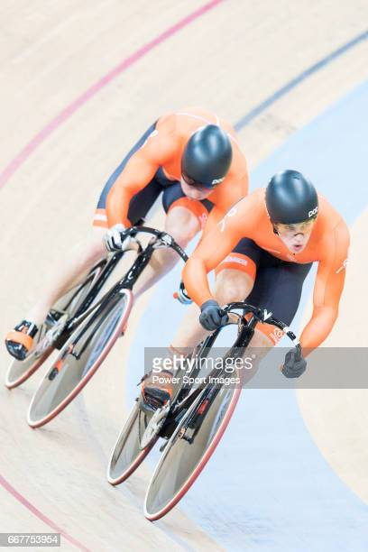 The team of Netherlands with Jeffrey Hoogland Harrie Lavreysen and Matthijs Buchli compete in Men's Team Sprint Finals match during day one of the...