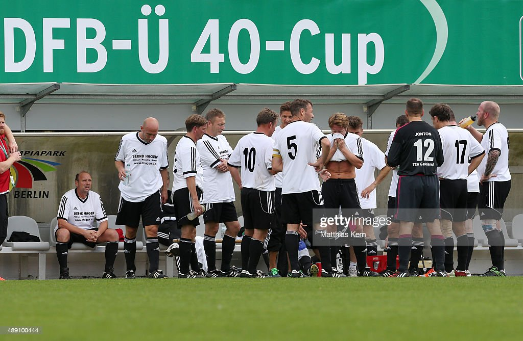 The team of Neumuenster looks on during the DFB over 40 and over 50 cup at Stadion am Wurfplatz on September 19 2015 in Berlin Germany