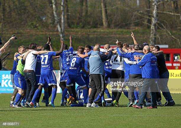The team of Neustrelitz shows their delight after winning the Regionalliga Nordost match between TSG Neustrelitz and 1FC Magdeburg at Parkstadion on...