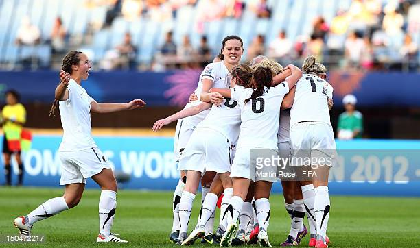 The team of New Zealand celebrate their 2nd goal during the FIFA U20 Women's World Cup 2012 group A match between New Zealand and Switzerland at...