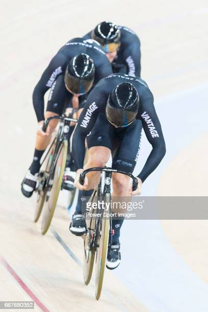 The team of New Zealand with Edward Dawkins Ethan Mitchell and Sam Webster compete in Men's Team Sprint Qualifying match during day one of the 2017...