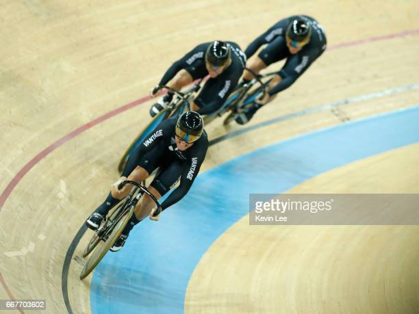 The team of New Zealand with Edward Dawkins Ethan Mitchell and Sam Webster compete for the Gold during the Men's Team Sprint Final on day one of the...