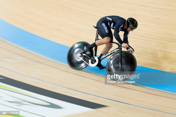 The team of New Zealand with Edward Dawkins Ethan Mitchell and Sam Webster compete in Men's Team Sprint 1st Round match during day one of the 2017...