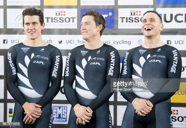 The team of New Zealand with Ethan Mitchell Edward Dawkins and Sam Webster celebrates after winning the Men's Team Sprint Finals match during day one...