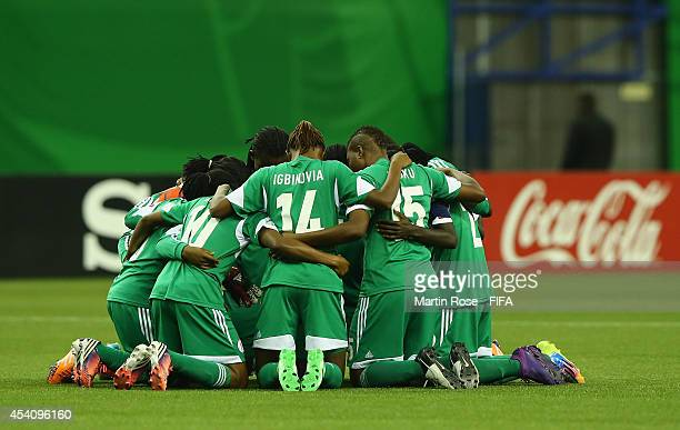 The team of Nigeria line up before the FIFA U20 Women's World Cup 2014 final match between Nigeria and Germany at Olympic Stadium on August 24 2014...