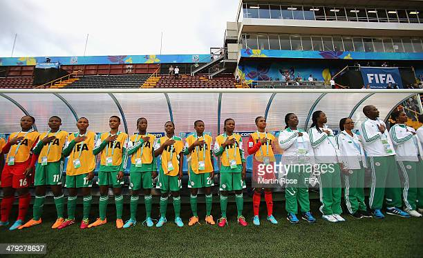 The team of Nigeria lines up beforel during the FIFA U17 Women's World Cup 2014 group D match between China and Nigeria at Alejandro Morera Soto...