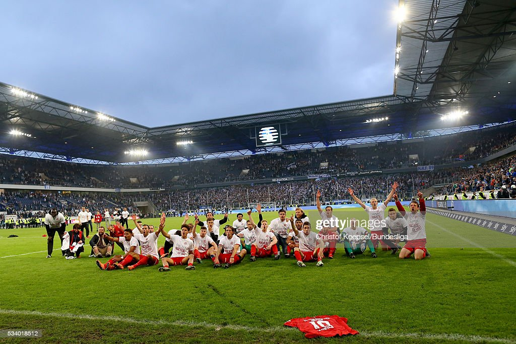 The team of of Wuerzburg celebrates after the Second Bundesliga play-off second leg match between MSV Duisburg and Wuerzburger Kickers at Schauinsland-Reisen-Arena on May 24, 2016 in Duisburg, Germany.