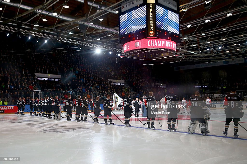 The team of Oulu and of Gothenburg line up before the Champions Hockey League final game between Karpat Oulu and Frolunda Gothenburg at Oulun Energia-Areena on February 9, 2016 in Oulu, Finland.