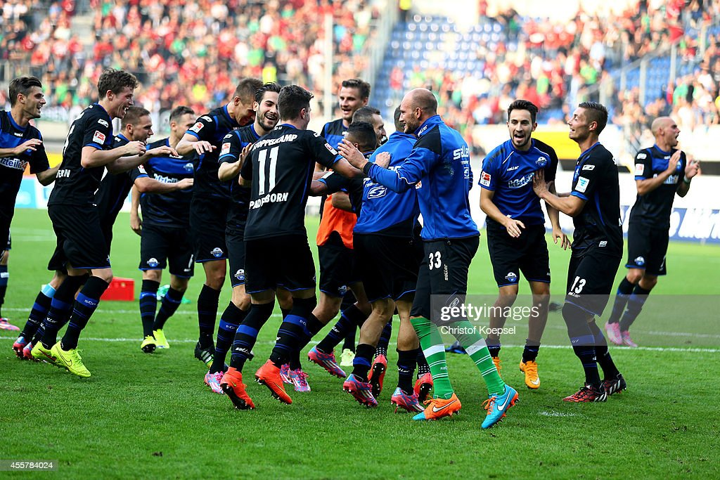 The team of Paderborn celebrates after the Bundesliga match between SC Paderborn and Hannover 96 at Benteler Arena on September 20 2014 in Paderborn...