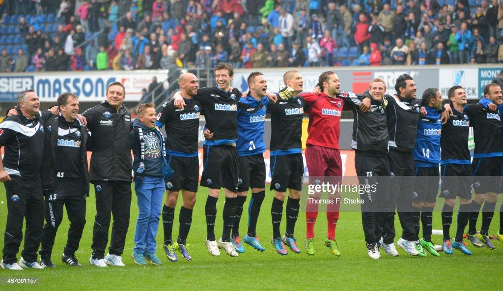 The team of Paderborn celebrates after winning the Second Bundesliga match between SC Paderborn and SV Sandhausen at Benteler Arena on April 27, 2014 in Paderborn, Germany.