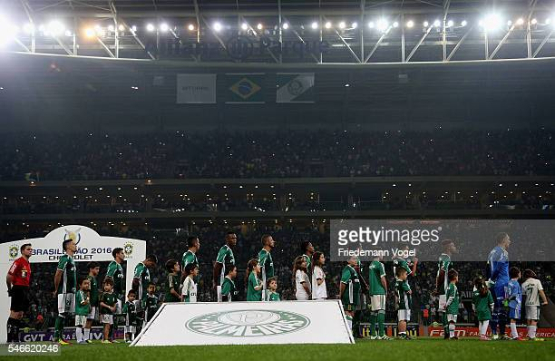 The team of Palmeiras lines up during the match between Palmeiras and Santos for the Brazilian Series A 2016 at Allianz Parque on July 12 2016 in Sao...