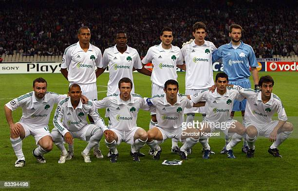 The team of Panathinaikos line up prior to the UEFA Champions League Group B match between Panathinaikos and Werder Bremen at the Olympic stadium...