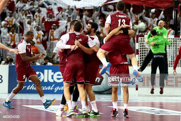 The team of Qatar celebrates after the semi final match between Poland v Qatar during the Men's Handball World Championship at Lusail Multipurpose...