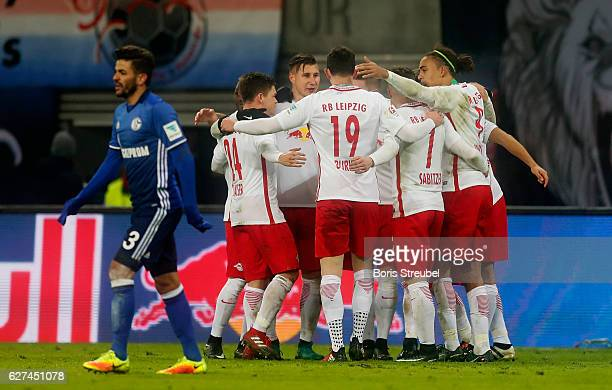 The team of RB Leipzig celebrate after winning the Bundesliga match between RB Leipzig and FC Schalke 04 at Red Bull Arena on December 3 2016 in...