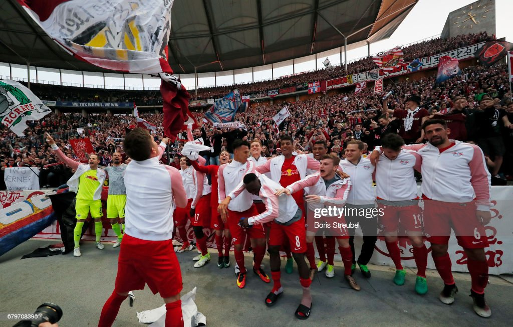 The team of RB Leipzig celebrate the participation of the UEFA Champions League in the next season after winning the Bundesliga match between Hertha BSC and RB Leipzig at Olympiastadion on May 6, 2017 in Berlin, Germany.