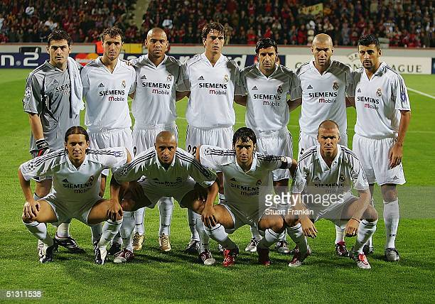 The team of Real Madrid poses at the start of the UEFA Champions League match between Bayer Leverkusen and Real Madrid at The Bayer Arena on...