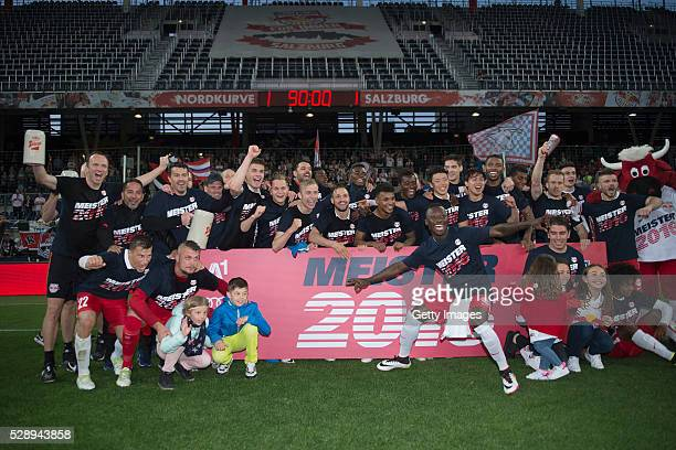 The team of Red Bull Salzburg celebrates after the tipico Bundesliga match between Red Bull Salzburg and Sturm Graz at Red Bull Arena on May 7 2016...