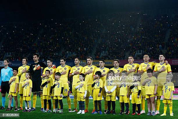 The team of Romania line up during the International Friendly match between Romania and Spain held at the Cluj Arena on March 27 2016 in ClujNapoca...