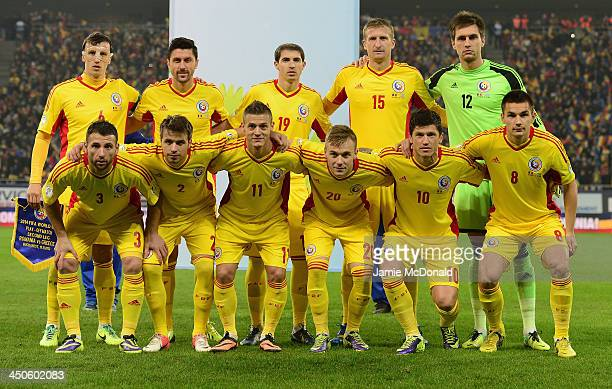 The team of Romania pose during the FIFA 2014 World Cup Qualifier Playoff Second Leg match between Romania and Greece at the National Arena on...