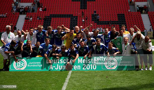 The team of Rostock celebrates after winning the final of the German A juniors championship between Bayer Leverkusen and FC Hansa Rostock at the...