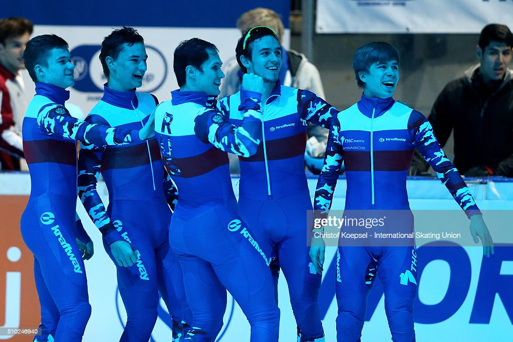 The team of Russia celebrates their ciotry after the men 5000m relay final A during Day 3 of ISU Short Track World Cup at Sportboulevard on February 14, 2016 in Dordrecht, Netherlands.