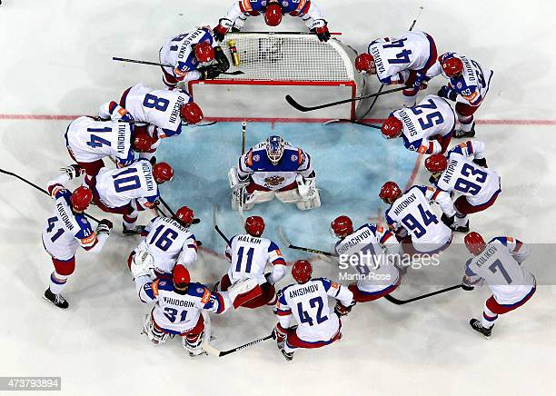 The team of Russia line up before the IIHF World Championship gold medal match between Canada and Russia at O2 Arena on May 17 2015 in Prague Czech...