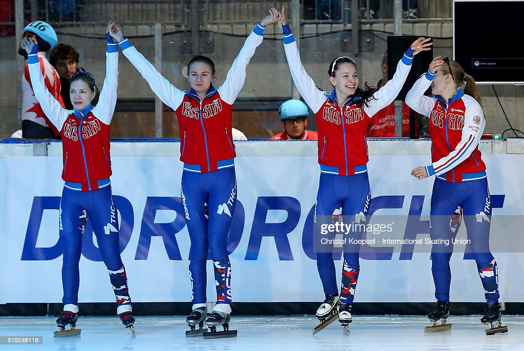 The team of Russia poses during the medal ceremony after winning the 2nd place of the ladies 3000m relay final during Day 3 of ISU Short Track World Cup at Sportboulevard on February 14, 2016 in Dordrecht, Netherlands.
