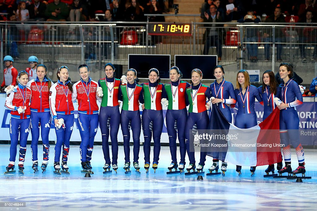 The team of Russia poses during the medal ceremony after winning the second place, the team of Italy poses during the medal ceremony after winning the 1st place and the team of France poses during the medal ceremony after winning the 3rd place of the ladies 3000m relay final during Day 3 of ISU Short Track World Cup at Sportboulevard on February 14, 2016 in Dordrecht, Netherlands.