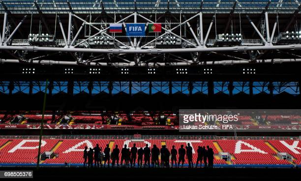 The team of Russia stand together during a training session at Spartak Stadium during the FIFA Confederations Cup Russia 2017 on June 20 2017 in...