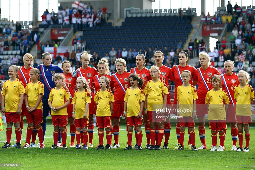 The team of Russia stands for the national anthem prior to the UEFA Women's EURO 2013 Group C match between England and Russia at Linkoping Arena on July 15, 2013 in Linkoping, Sweden.