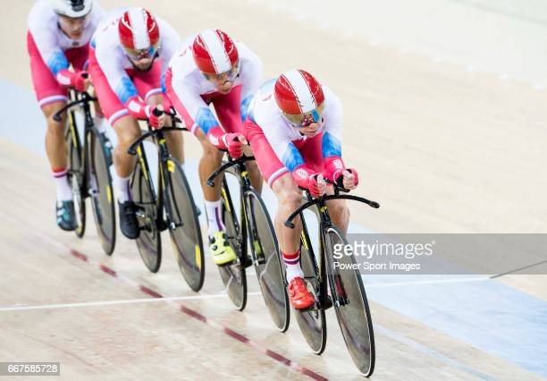 The team of Russia with Alexander Evtushenko Alexey Kurbatov Viktor Manakov and Sergei Shilov compete in the Men's Team Pursuit Qualifying match as...