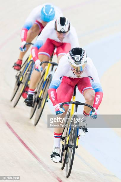 The team of Russia with Kirill Samusenko Aleksei Tkachev and Pavel Yakushevskiy compete in Men's Team Sprint Qualifying match as part of the 2017 UCI...