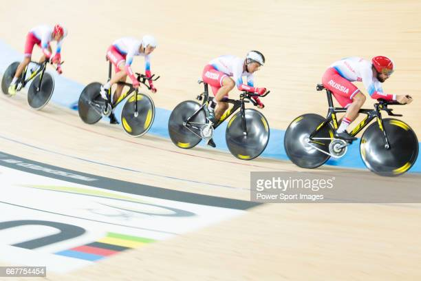 The team of Russia with Viktor Manakov Alexander Evtushenko Vladislav Kulikov and Alexey Kurbatov compete in Men's Team Pursuit 1st Round match...