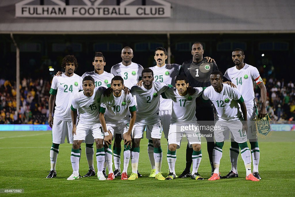 The team of Saudi Arabia during the International Friendly match between Saudi Arabia and Australia at Craven Cottage on September 8 2014 in London...