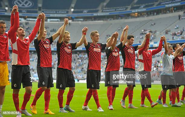 The team of SC Freiburg celebrates winning the 2 Bundesliga match between TSV 1860 Muenchen and SC Freiburg at Allianz Arena on August 1 2015 in...