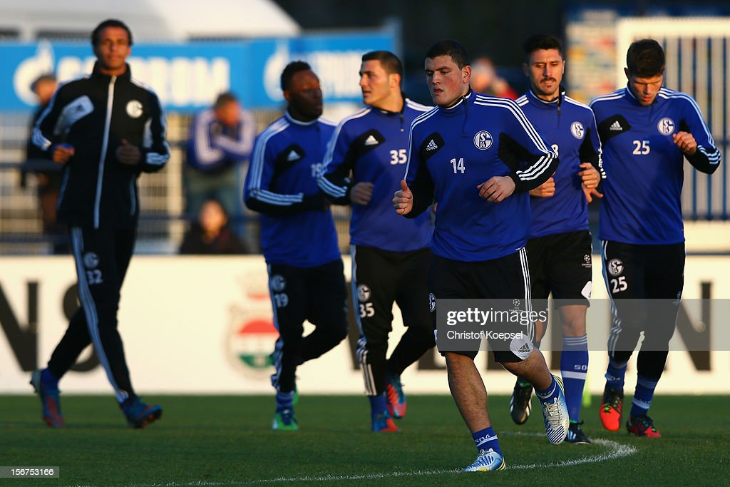 The team of Schalke 04 attends the training session at the training ground ahead of the UEFA Champions League group B match between FC Schalke 04 and Olympiakos Piraeus on November 21, 2012 in Gelsenkirchen, Germany.