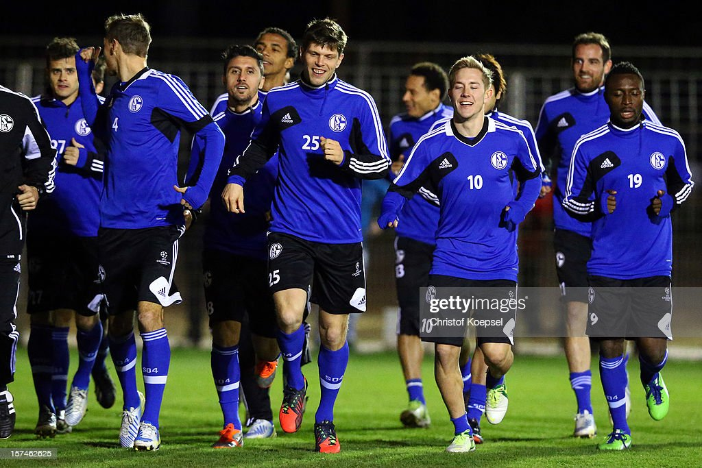 The team of Schalke attends the training session of FC Schalke 04 at training ground of Montpellier ahead of the UEFA Champions League group B match between Montpellier Herault SC and FC Schalke 04 on December 3, 2012 in Montpellier, France.