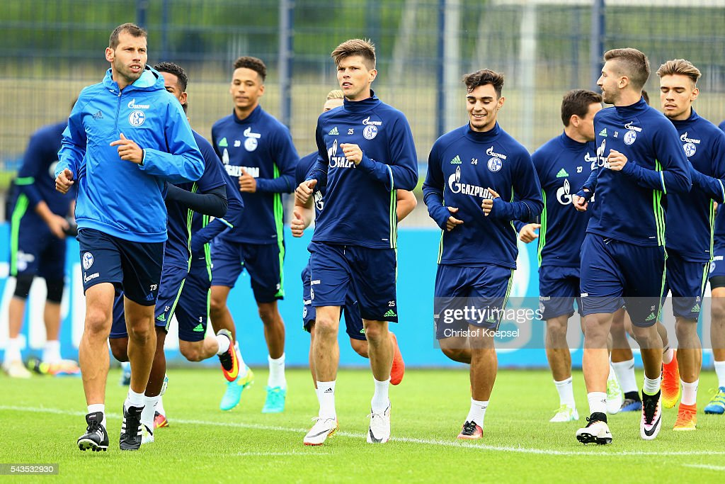 The team of Schalke attends the training session of Schalke 04 at training ground on June 29, 2016 in Gelsenkirchen, Germany.