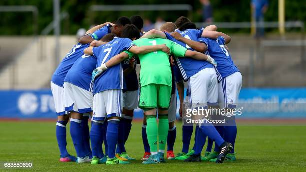 The team of Schalke comes together during the U19 German Championship Semi Final second leg match between FC Schalke and FC Bayern at Lohrheide...
